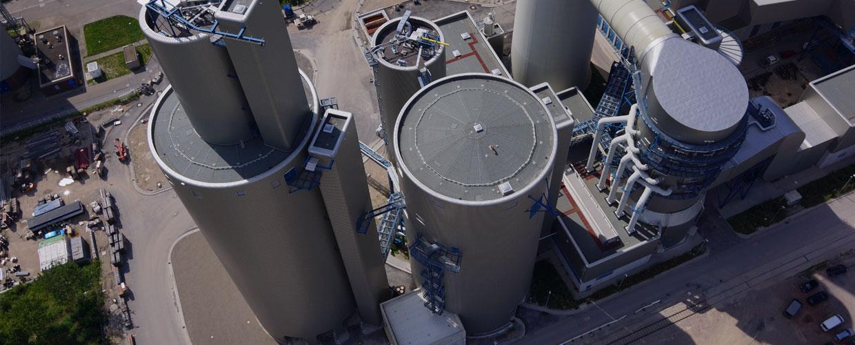 Drohnen Luftaufnahme von Silos